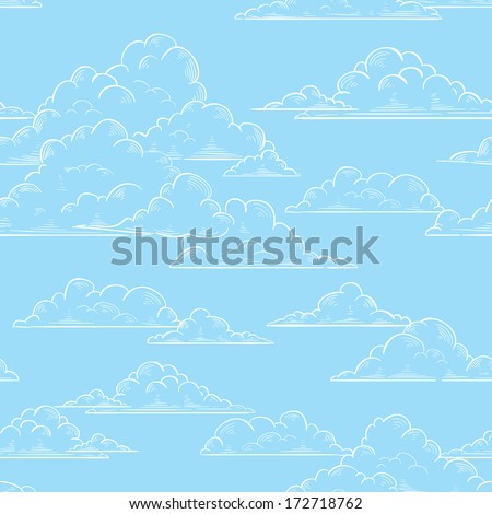 Clouds seamless pattern hand-drawn illustration - stock vector