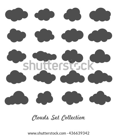 Clouds silhouettes. Vector set of clouds shapes.  - stock vector