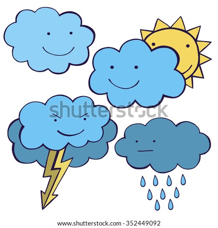 Clouds smiling. Cute Weather set vector image.