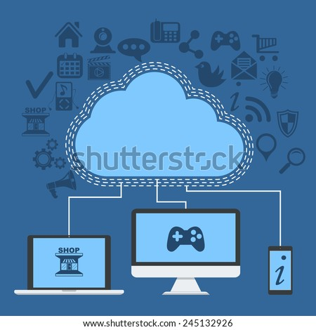 clouds technology Vector Concept . With smart phone, computer and laptop connect to clouds with meny services . Flat Design Illustration for Web Sites Infographic Design. - stock vector