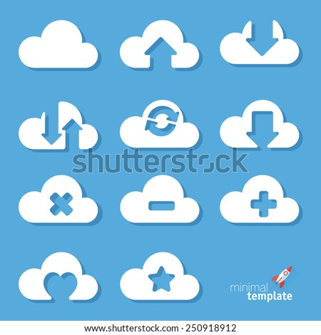 Clouds. Vector icon set.  - stock vector