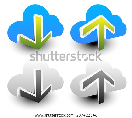 Clouds with arrows. Upload, download icons. Upload, download from the cloud. - stock vector