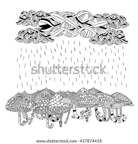 Clouds With Running Rain And Umbrella Coloring Book Page For Adults Children Hand