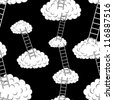 Clouds with stairs, seamless wallpaper, vector illustration - stock photo