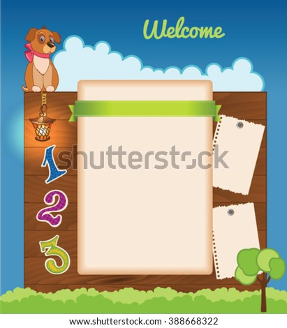 Cloudy background for kid template - stock vector