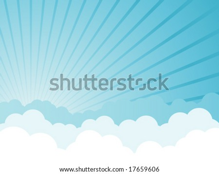 Cloudy cartoon background with sun shining through - vector illustration with copy space