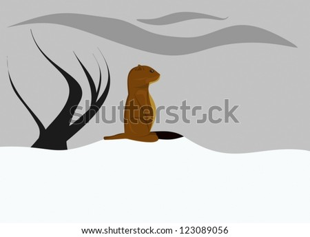 Cloudy Groundhog day without shadows - stock vector