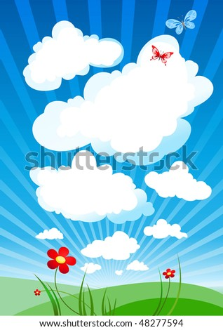 Cloudy sky - stock vector