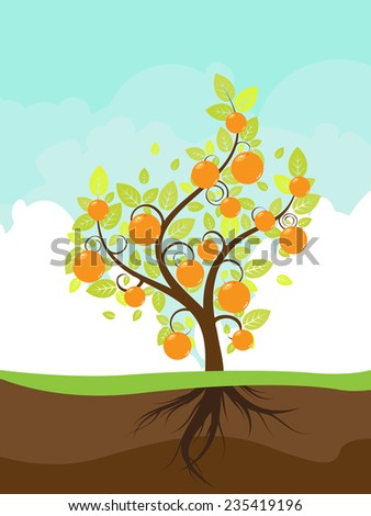 Cloudy sky background and stylized orange tree on the ground.