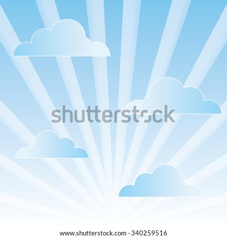 cloudy sky with rays vector