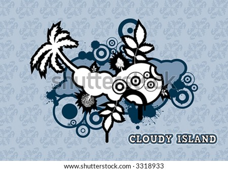 Cloudy vector Island - stock vector