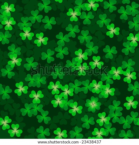 Clover background with one hidden four-leafed clover (vector seamless tile) - stock vector