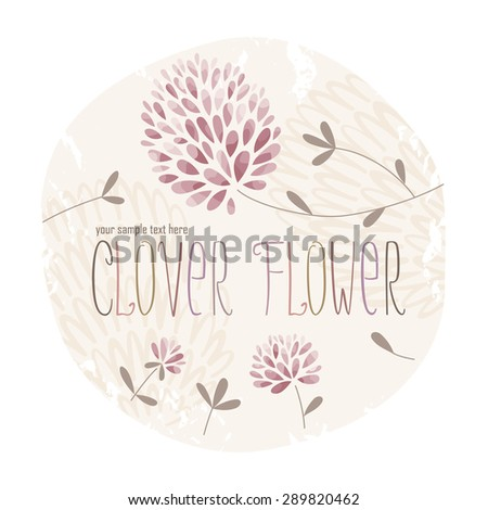 Clover circle label with lots of clover flowers and grass on grunge background  - stock vector