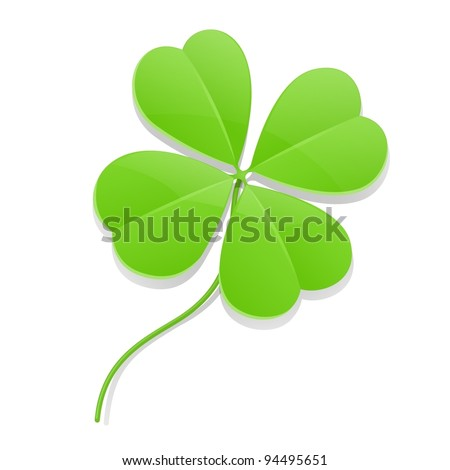 clover four leaf for saint patrick's day vector illustration isolated on white background EPS10. Transparent objects used for shadows and lights drawing - stock vector
