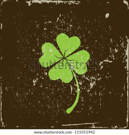 clover four leaf on grunge background - stock vector