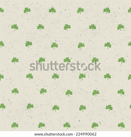 Clover leaf seamless pattern on paper texture. Background for St. Patric`s Day. Vector - stock vector