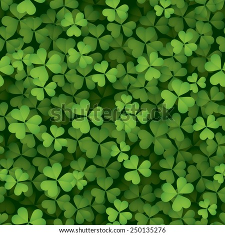 Clover leaves background - seamless - stock vector