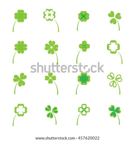Clover leaves vector set or collection on white background. four and three leaf lucky clover leaf in flat style. - stock vector