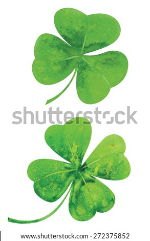 Clover leaves. Watercolor vector illustration. - stock vector