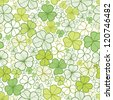 Clover line art seamless pattern background - stock photo