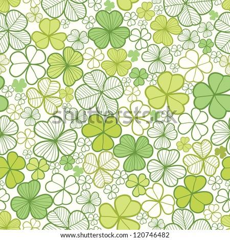 Clover line art seamless pattern background - stock vector