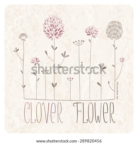 Clover Meadow with lots of clover flowers and grass on grunge background  - stock vector