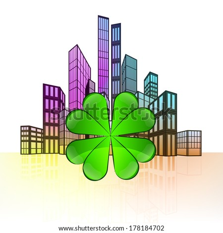 cloverleaf happiness with colorful cityscape silhouette behind vector illustration - stock vector