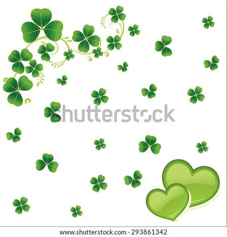 Cloverleaf Seamless with green heart background - stock vector