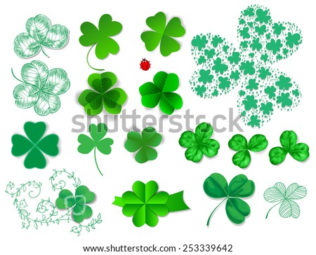 Clovers set. Collection of various type of clovers - realistic, paper and hand - drawn. Elements for St. Patrick day design on white background. - stock vector