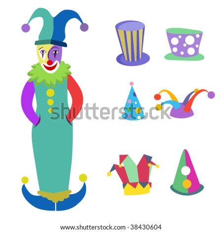 clown and hats - stock vector