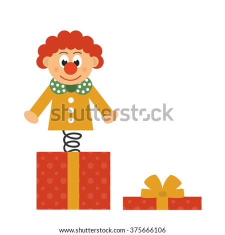 clown and present box - stock vector