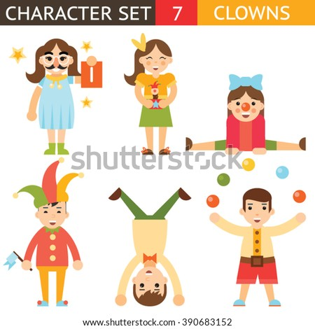 Clown 1 April Joke Fun Boys Girls Characters Icon Set Symbol  Accessories Stylish Isolated Flat Design Concept Vector Illustration - stock vector