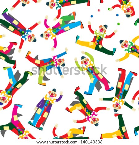 Clown circus, seamless pattern design - stock vector