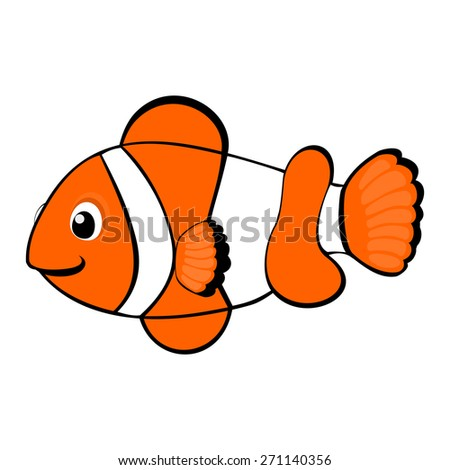 Clown fish cartoon vector illustration Tropical sea life theme illustration Under the sea animals vector illustration Cute orange fish vector illustration Under the sea animals vector illustration  - stock vector