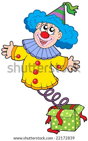 Clown from box - vector illustration.