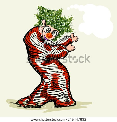 clown hand draw cartoon with blank space for text - stock vector