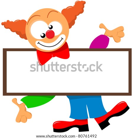 clown holding a signboard - stock vector