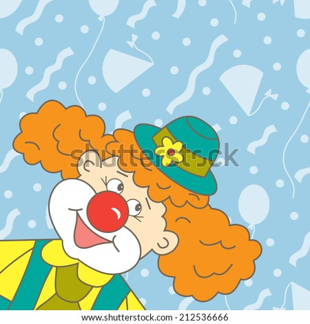 Clown. Holiday card with space for text.  Kids background. - stock vector