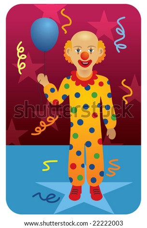 Clown in circus holding a balloon.
