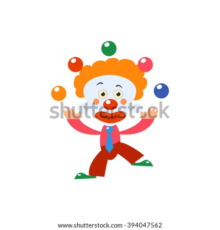 Clown Juggling Simplified Isolated Flat Vector Drawing In Cartoon Manner - stock vector