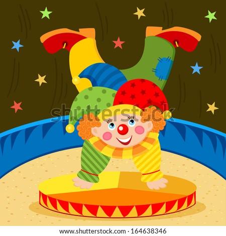 clown on stage - vector illustration  - stock vector