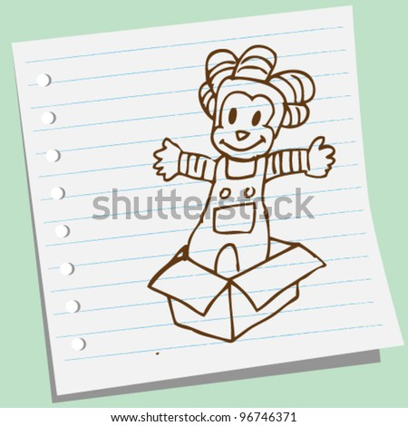 clown on the box doodle illustration - stock vector