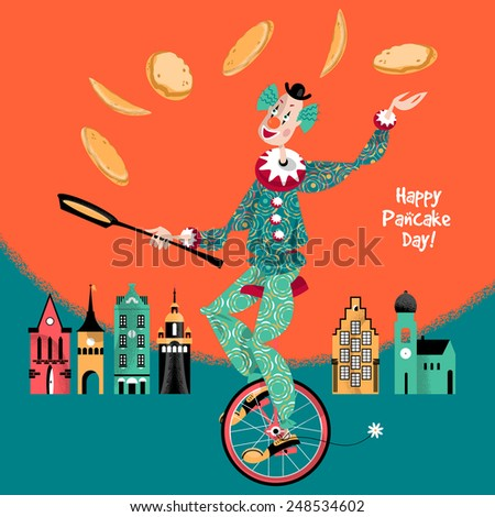 Clown on unicycle juggling pancakes. Vector illustration - stock vector