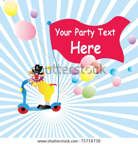 clown party design with balloons and flag for text - stock vector