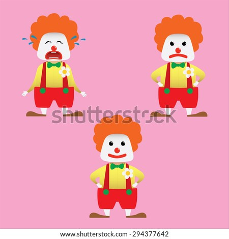 Clown set doing actions for use in advertising, presentations, brochures, blogs, documents and forms, etc.