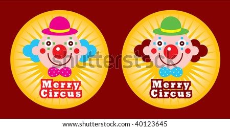 clown sticker - stock vector