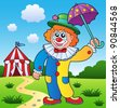 Clown theme picture 4 - vector illustration. - stock