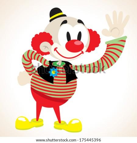 clown waving cartoon illustration - stock vector