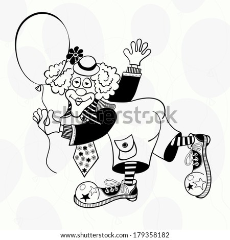 Clown with a balloon. Black and white hand-drawn vector illustration. - stock vector