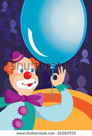 clown with balloons at the circus - stock vector